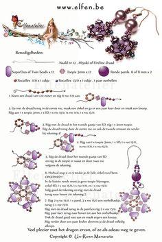 Gratis patronen | Elfenatelier Seed Bead Bracelets, Seed Bead Jewelry, Seed Bead Earrings, Diy Earrings, Pearl Earrings, Beaded Necklace, Seed Beads, Diy Jewelry, Bead Earrings