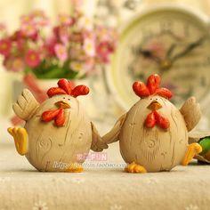 basteln mit knetbeton   Mobiliário divertidas resina amantes galinhas um par de presente de ...