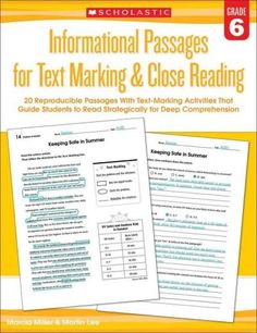Informational Passages for Text Marking & Close Reading Grade 6: 20 Reproducible Passages With Text-Marking Activ...