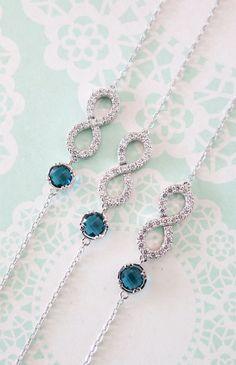 Crystal Infinity Bracelet with Montana Crystal Bracelet, Love, Forever, bridesmaid bracelet, something blue, www.glitzandlove.com