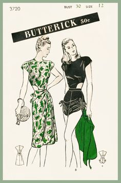 vintage playsuit sewing pattern one piece romper keyhole swimsuit beach high waisted PICK YOUR SIZE bust 30 32 34 36 38 Vintage Outfits, Vintage Dresses, Vintage Clothing, Vintage Lingerie, Vintage Dress Patterns, Clothing Patterns, 1940s Fashion, Vintage Fashion, Vintage Vogue