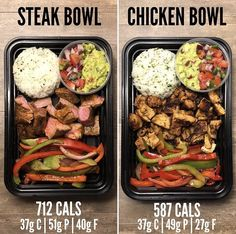 Steak Burrito Bowls and Chicken Burrito Bowls. These are my two favorite meals to make for my weekly lunches. The Chicken Burrito Bowls are in the Edition of The Meal Prep Manual eBook and the steak Burrito Bowls are in the Edition. Healthy Meal Prep, Healthy Snacks, Healthy Eating, Healthy Recipes, Keto Meal, Food Meal Prep, Weekly Food Prep, Weekly Lunch Meal Prep, Healthy Delicious Meals