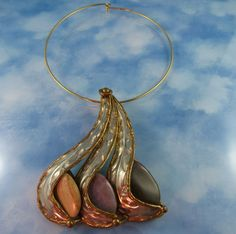 Designer Couture 70's Huge Mixed Metal & Stone Statement Pendant Necklace