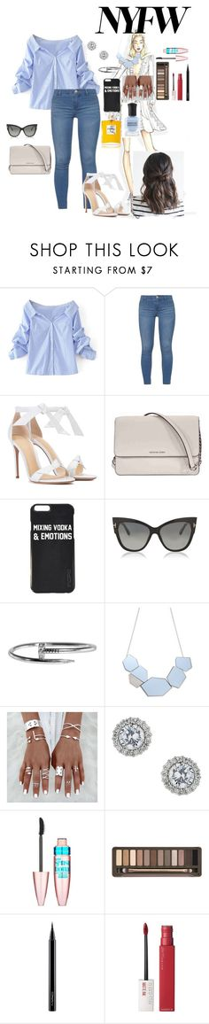 """""""New York Fashion Week"""" by ana-flower ❤ liked on Polyvore featuring WithChic, Dorothy Perkins, Alexandre Birman, Michael Kors, Tom Ford, Cartier, Miss Selfridge, Maybelline, Urban Decay and MAC Cosmetics"""