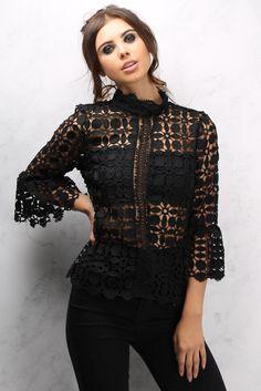 Black Bell Sleeve High Neck Crochet Top £36