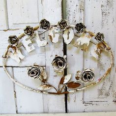 Metal roses welcome sign rusty white shabby by AnitaSperoDesign