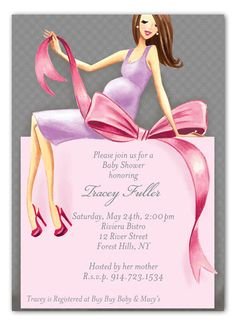 Expecting a Big Gift Girl Brunette Baby Shower Invitation