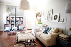 House Crashing: Inspired & Inexpensive   Young House Love  LOVe the hanging baskets on the wall for storage.