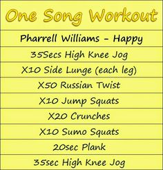 One Song Workout One Song Workouts, Workout Songs, Fun Workouts, Group Workouts, Pharrell Williams Happy, Singing Exercises, Wednesday Workout, Home Exercise Routines, Fitness Journal