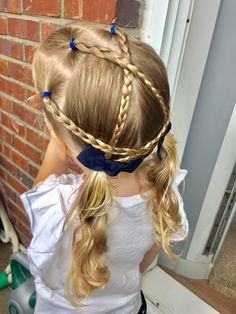 Day 32 style: simple criss-cross and wrap-a-round braids into pigtails
