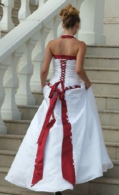 wedding dresses with red on it