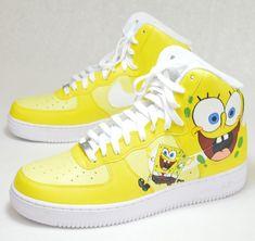 SpongeBob SquarePants Nike Air Force Ones Nike Shoes Air Force, Nike Air Force Ones, Custom Painted Shoes, Custom Shoes, Customised Shoes, Custom Af1, Zapatillas Jordan Retro, Sneakers Fashion, Shoes Sneakers