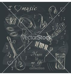 Music and accessories vector by Lidiebug on VectorStock®