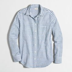 J.Crew Factory striped linen-cotton shirt ($30) ❤ liked on Polyvore featuring tops, cotton linen shirts, blue linen shirt, long sleeve cotton shirts, blue long sleeve shirt and blue top