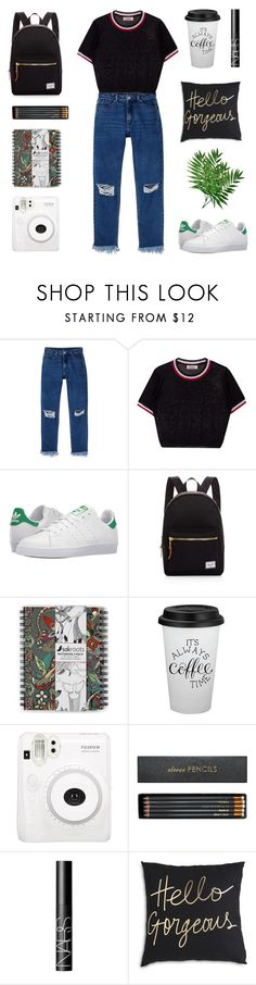 """White Sneakers"" by enamorado-dina ❤ liked on Polyvore featuring Monki, adidas, Herschel Supply Co., Sakroots, Sloane Stationery and NARS Cosmetics"