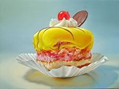 Dutch artist Tjalf Sparnaay creates hyper-realistic paintings of food that look good enough to eat Hyper Realistic Paintings, Amazing Paintings, Oil Paintings, Paintings Of Food, Tjalf Sparnaay, Food Painting, Cake Painting, Painting Tattoo, Food Drawing