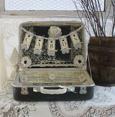 Vintage Suitcase For Wedding Card Holder by TheShabbyChicWedding
