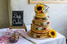Naked Cake Layer Victoria Sponge Sunflowers Outdoor Festival Summer Wedding http://lighteningphotography.co.uk/