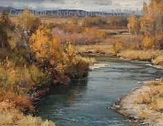 River Scene - Oil by Clyde Aspevig