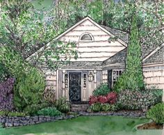 Custom House Portraits in Pen/Ink and Watercolor, Hand-painted original Portrait of Your Home