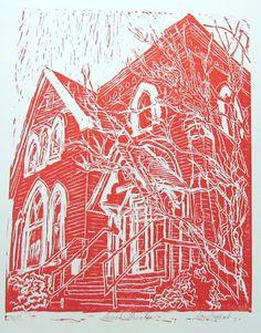 Laurel Theater  original linoleum block print