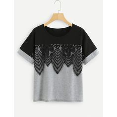 SheIn(sheinside) Lace Applique Two Tone T-shirt ($14) ❤ liked on Polyvore featuring tops, t-shirts, multicolor, embellished t shirt, scoop neck t shirt, short sleeve t shirt, color block t shirt and short sleeve lace top