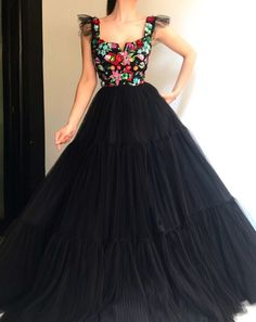 Licorice Embellished TMD Gown Details - Black dress - Soft tulle fabric - Handmade embroidery flowers - Ball-gown dress - Party and evening dress Indian Gowns Dresses, Mexican Dresses, Gala Dresses, Ball Gown Dresses, Quinceanera Dresses, Formal Dresses, Long Gown Dress, Lehnga Dress, Dress Skirt