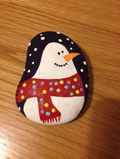 Christmas snowman painted pebble