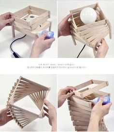 Wooden Lamp. floor lamp? yes please. can also add paper :)