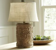 Pottery Barn Rowan table lamp, of carved wood.  Update:  I ended up taking this back as it kind of clashed with my Sawyer end table.  The Marley will look perfect!