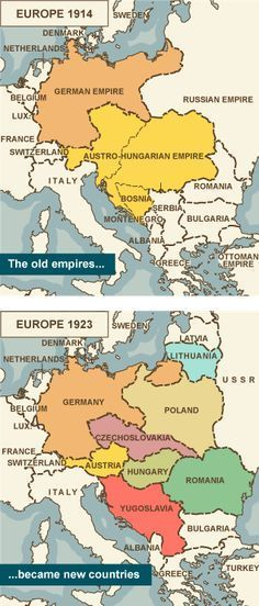 Map comparing Europe 1914 with Europe 1923 showing old empires becoming new countries Map of Europe in 1914 before the empires became new countries after the war. European History, History Facts, World History, Ancient History, Family History, American History, Ancient Aliens, History Timeline, Old Maps