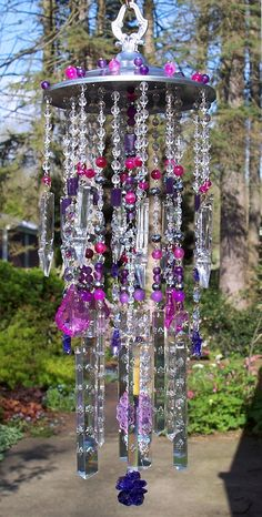 Violet, Magenta, and Fuchsia Antique Crystal Wind Chime via Sheri's Crystals/Etsy