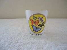 Vintage Great Smoky Mountains Frosted Shot Glass With Pics Of Butterflys On It #vintage #collectibles #home #kitchen