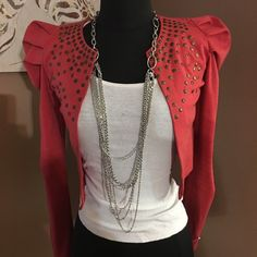 Red puff sleeve jacket Excellent condition red puff sleeve with stone detail Jackets & Coats Blazers