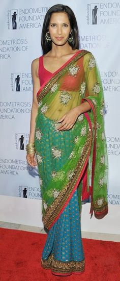 Padma Lakshmi rocking a really cool-colored sari