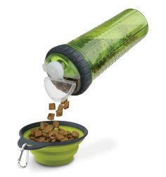 Portable Dog Traveling Bottle with Folding Bowl for Food and Water