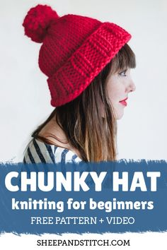 How to Knit a Chunky Hat for Beginners - Sheep and Stitch : Learn how to knit a beginner hat with this free pattern and step-by-step video tutorial. This hat is knit in the round with chunky yarn Chunky Knitting Patterns, Vintage Crochet Patterns, Easy Knitting, Knitting Yarn, Vogue Knitting, Knit Patterns, Stitch Patterns, Beginner Knitting Projects, Knitting For Beginners