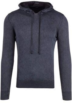 Czarny sweter męski z kapturem Denley R918 | sklep internetowy z odzieżą i obuwiem www.denley.pl