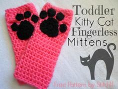 Fingerless Kitty Cat Mittens free crochet pattern - Free Fingerless Gloves Crochet Patterns - The Lavender Chair