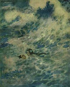 Edmund Dulac. 'She Saved the Prince's Life', 1911