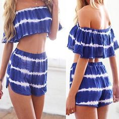 """""""Loungin"""" Adorable two piece set💙💙💙💙 🆘🆘 if you're thinking of buying please read!!!The bottoms were cut way too small for me which is so disappointing because I LOVVEEEEED this and couldn't wait to wear it. It still has tags since I couldn't get the bottoms past my thighs. The top is flowy and fits perfect but I have very wide hips so anyone who is a large with the same problem as me, don't waste your time:( the bottoms deff go as more of a medium! Any questions please ask! Other"""