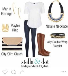 Perfect fall outfit #jeansandtshirt #stelladotstyle #falloutfit  www.stelladot.com/sites/leighawilson