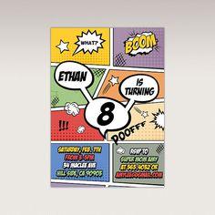 Comics Book Superhero PopArt Birthday Party Printable by PNArt