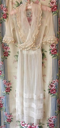 c1910 Edwardian Two Tiered Net TEA Dress by VintageClothingandCo, $64.99