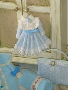 Dollhouse Miniature girls dress ready to hang by ANABELAMINIATURES