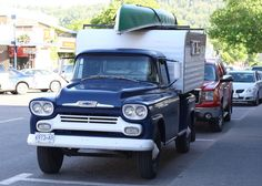 Nice 1958 Chevy Pickup Camper with canoe