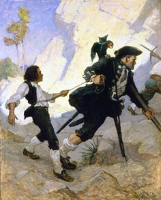 Long John Silver leading Jim Hawkins in The Hostage, illustration by N. C. Wyeth, 1911