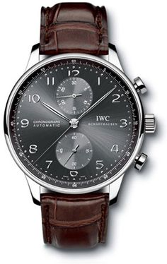 IWC Portuguese Chrono-Automatic 18kt White Gold Brown Mens Watch IW371431: 18kt white gold case. Matte dark brown alligator strap. Ardoise dial. Chronograph functions. Convex sapphire crystal. Case diameter 40.9mm. Automatic movement. Water resistant at 30 meters (100 feet). IWC Portuguese ChronoAutomatic 18kt White Gold Brown Tags: #iwc, gold, brown, white, 18kt, portuguese, automatic, watches, case, iw371431, chrono, mens, watch