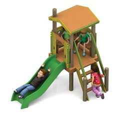 This multi-unit school playground equipment is designed and created specifically for young children