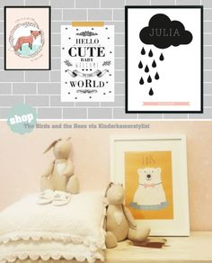 Perfect #baby #gift #Personalized #Posters | The birds and the bees via Kinderkamerstylist